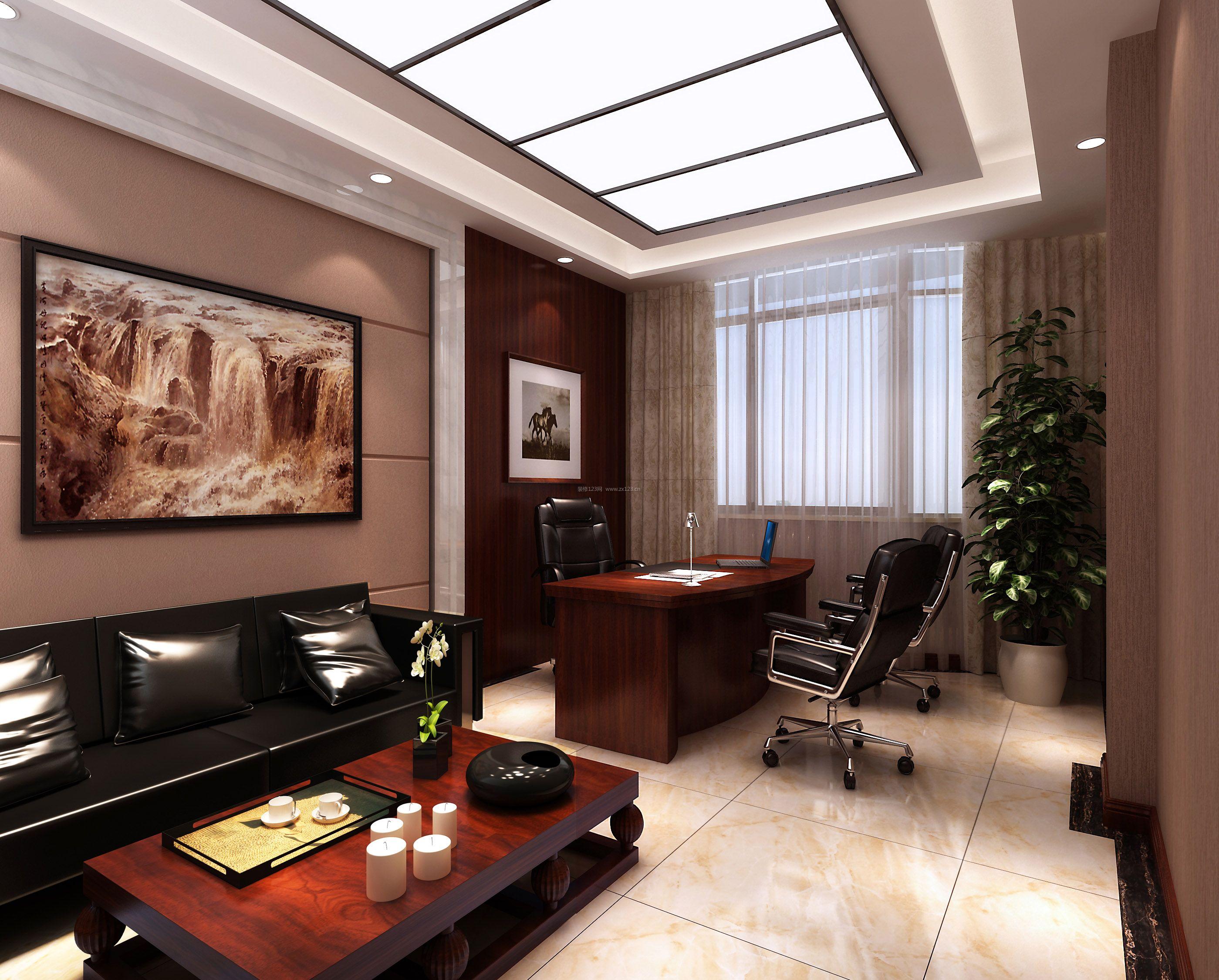 新中式风格老板办公室装修效果图片2017图片