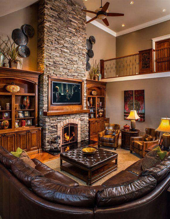 美式乡村客厅文化砖电视背景墙效果图图片