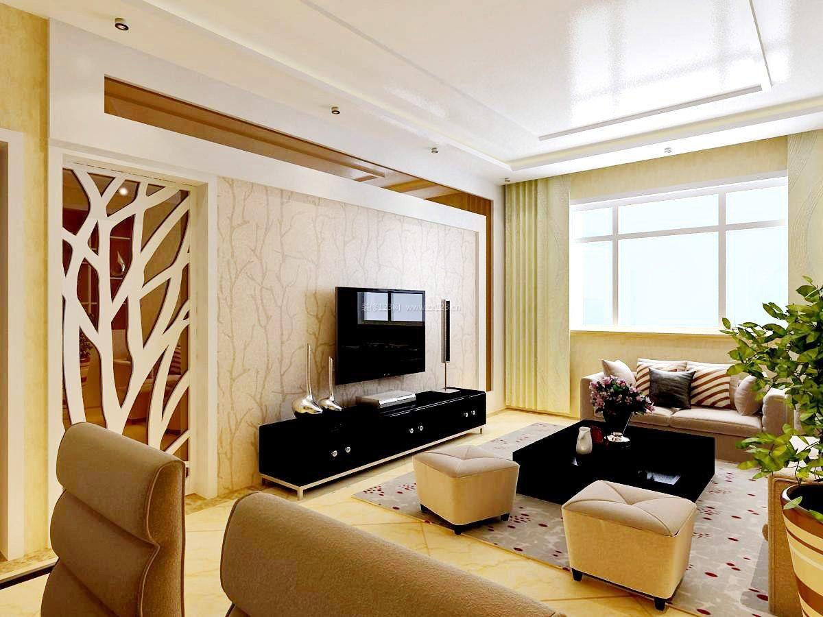 现代客厅电视墙造型装修效果图片大全
