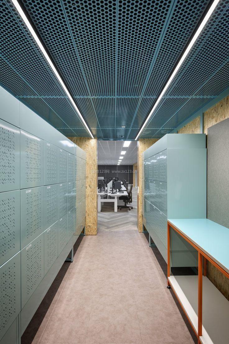 办公室走廊铝格栅吊顶装修效果图