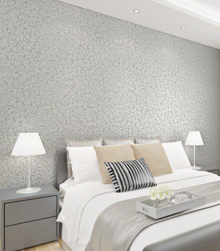 简单卧室硅藻泥背景墙效果图片_装修123效果图