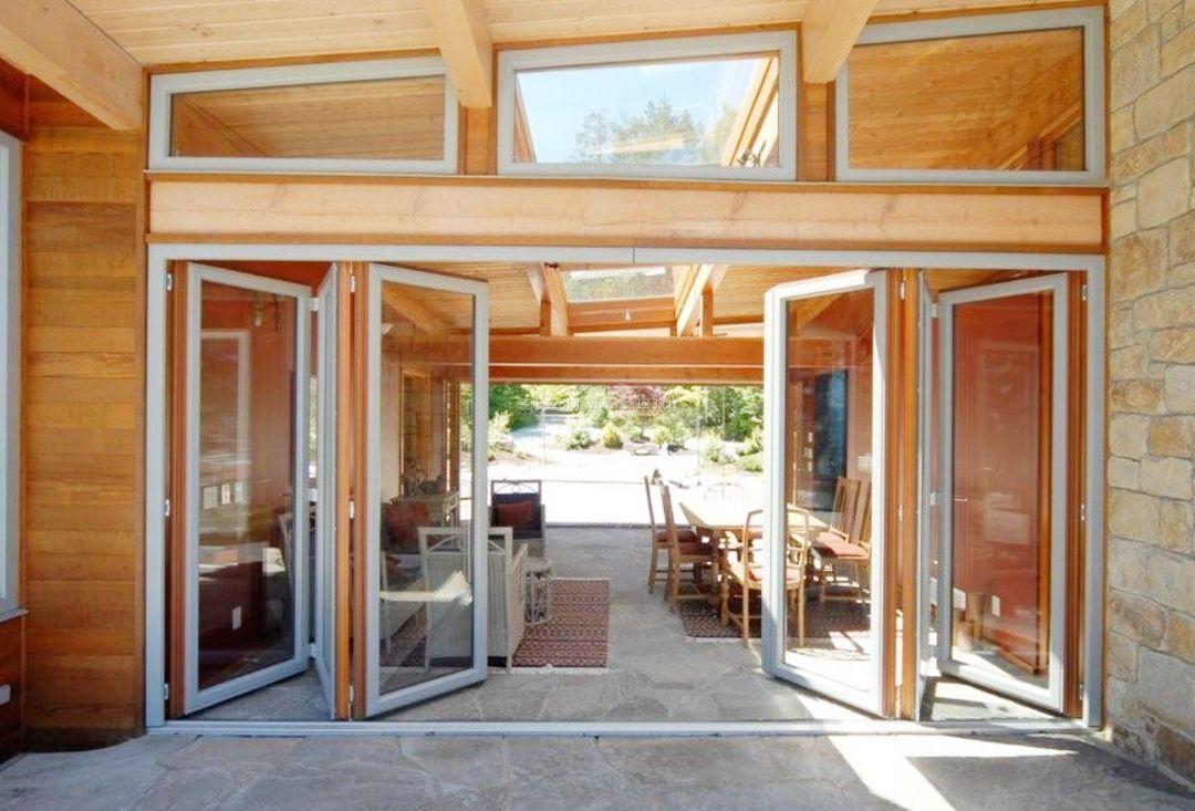 休闲木屋别墅客厅阳台折叠门效果图_装修123效果图