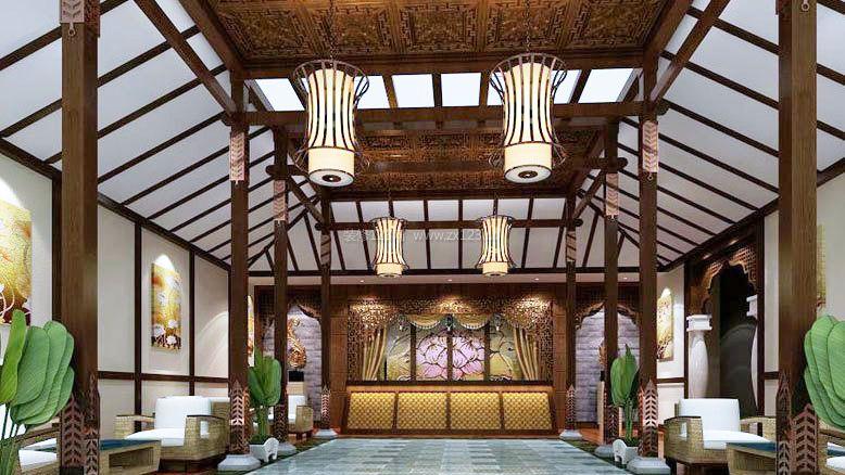 新中式风格足疗店装修效果图图片