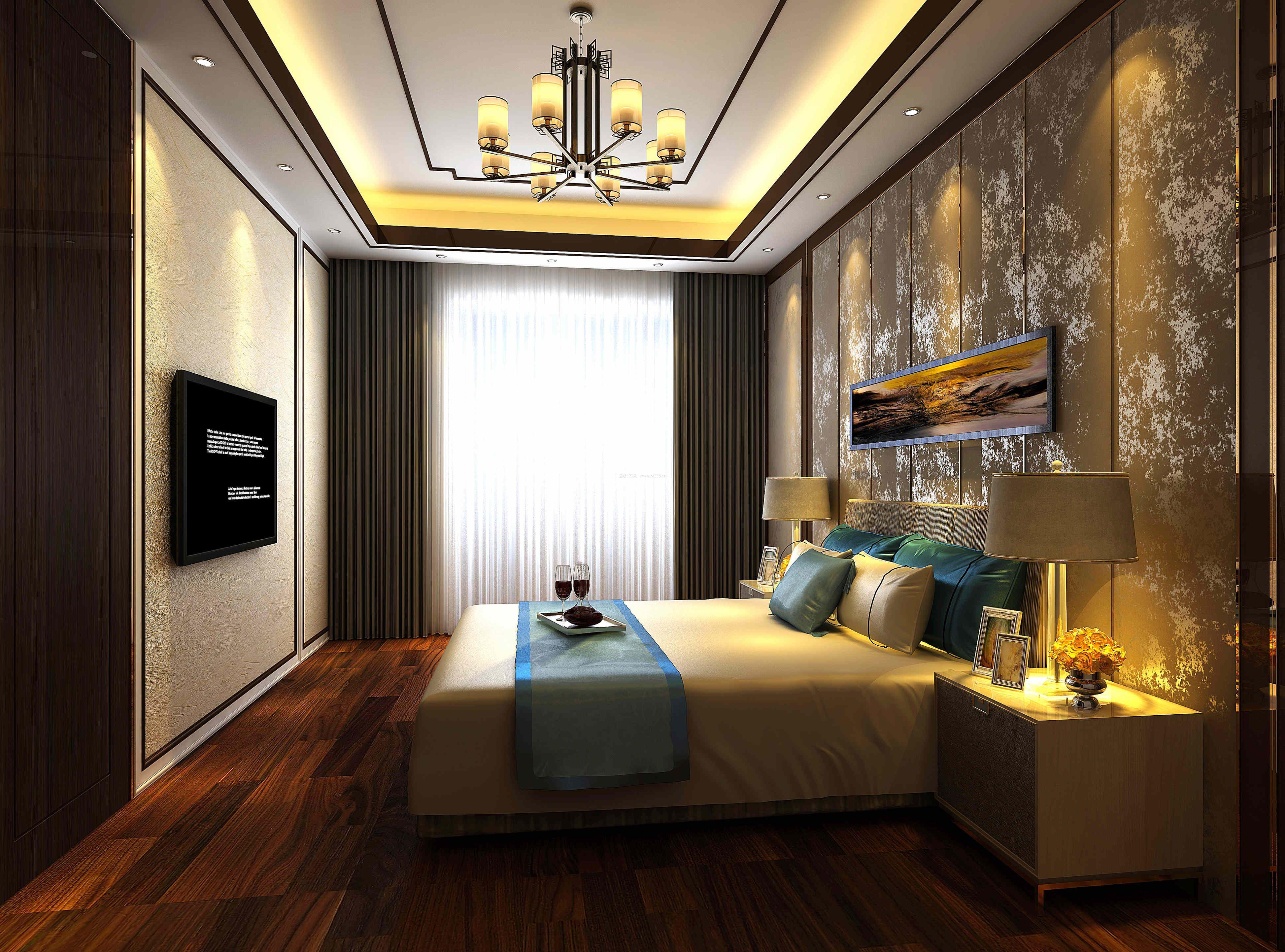 新中式卧室床头壁纸背景墙装修效果图大全