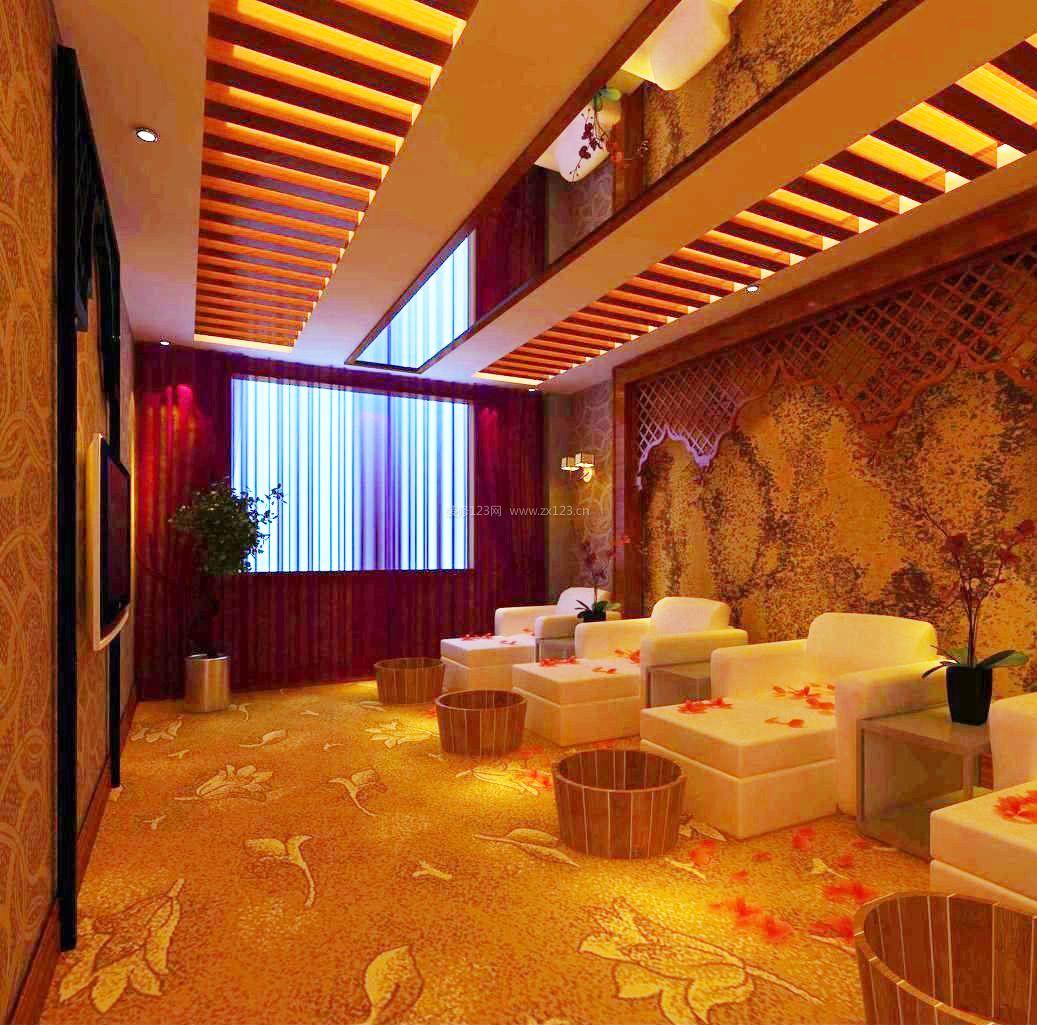 中式风格设计元素足疗店装修效果图图片