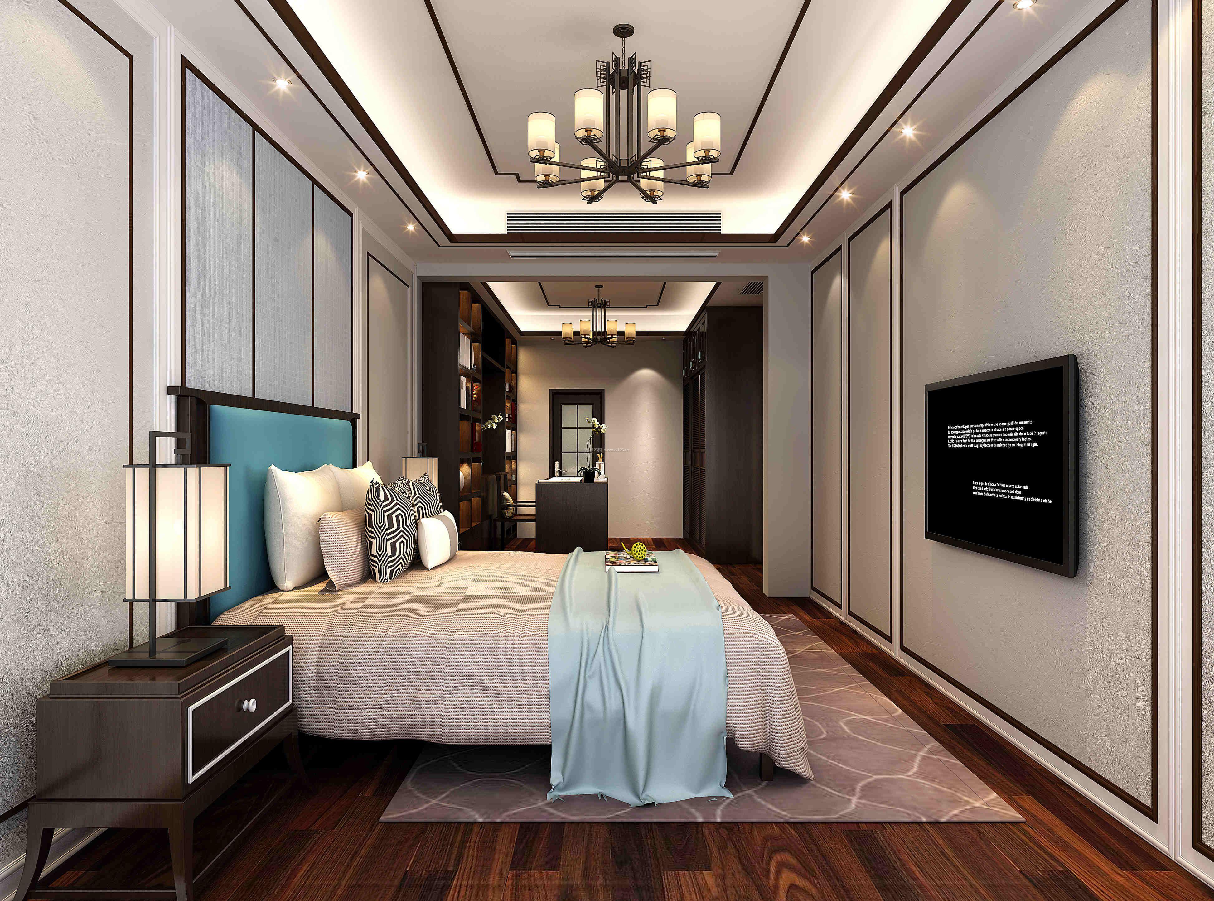 现代中式卧室书房一体装修效果图图片
