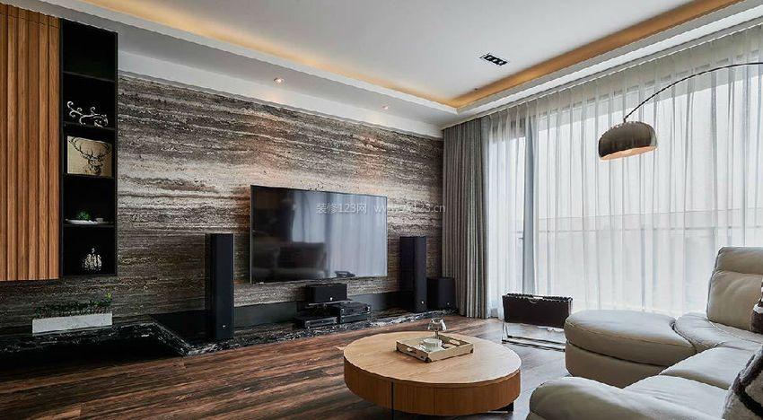现代北欧风格电视背景墙墙纸装修效果图片