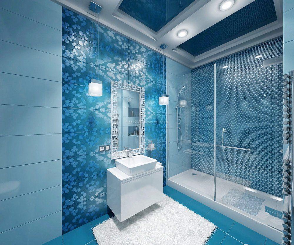蓝色卫生间浴室门装修效果图