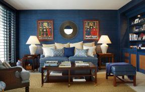 客廳壁紙效果圖大全 深藍色墻壁