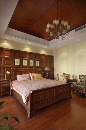 美式卧室装修效果图片 床头背景墙装修效果图片