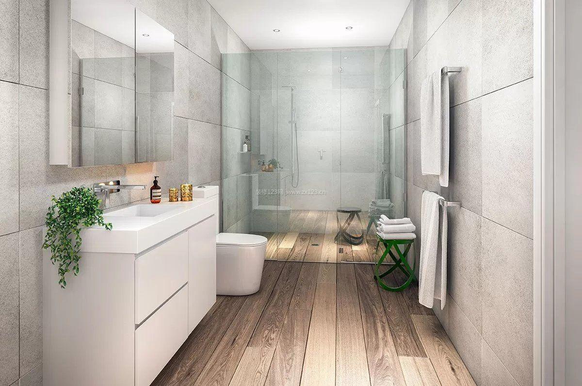 家装效果图 卫生间 卫生间灰色木地板装修设计图 提供者:   ←