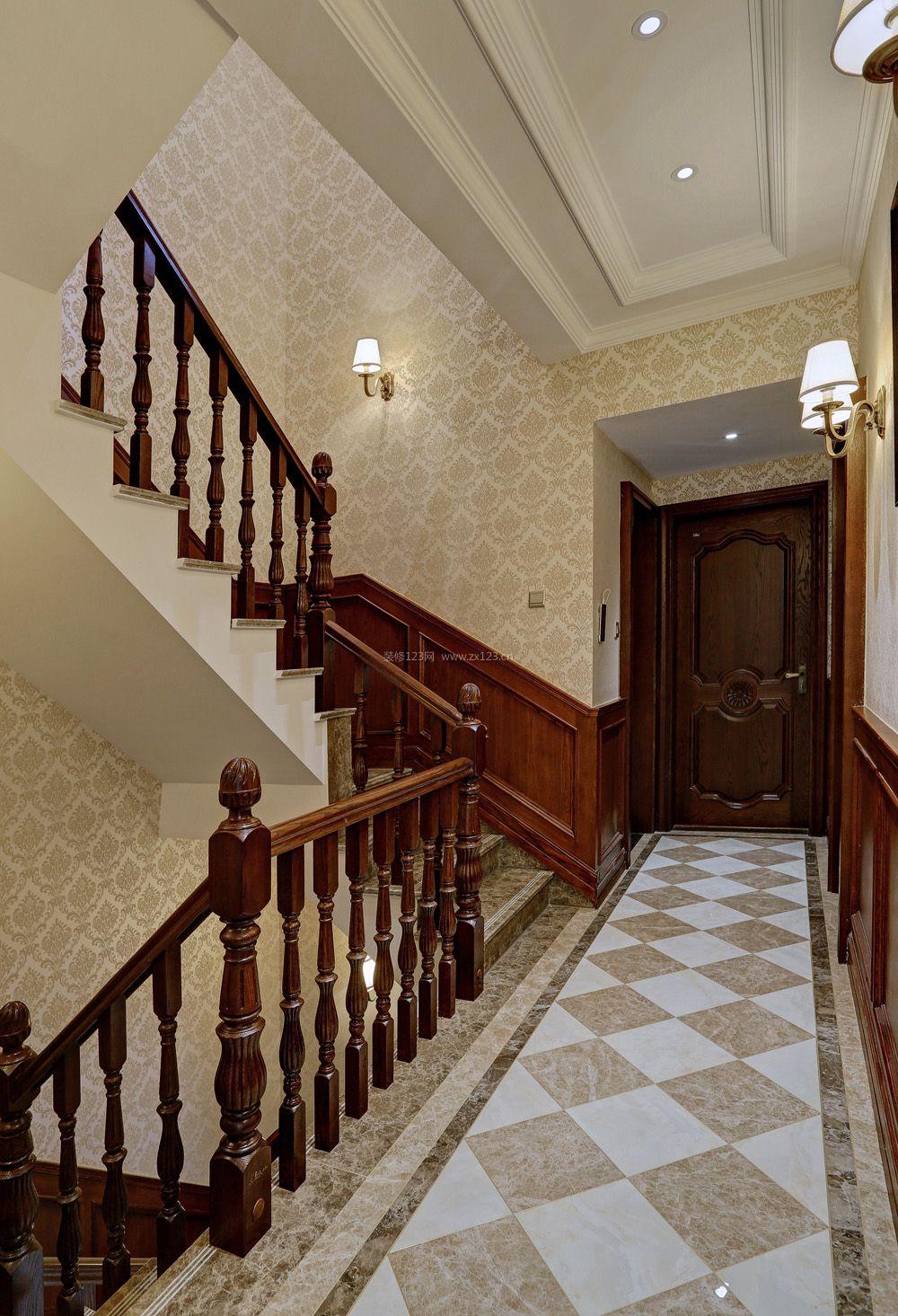 欧式别墅室内实木楼梯扶手装修效果图片