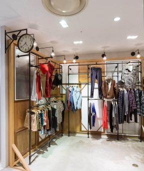 小型服装店装修风格 木背景墙装修效果图