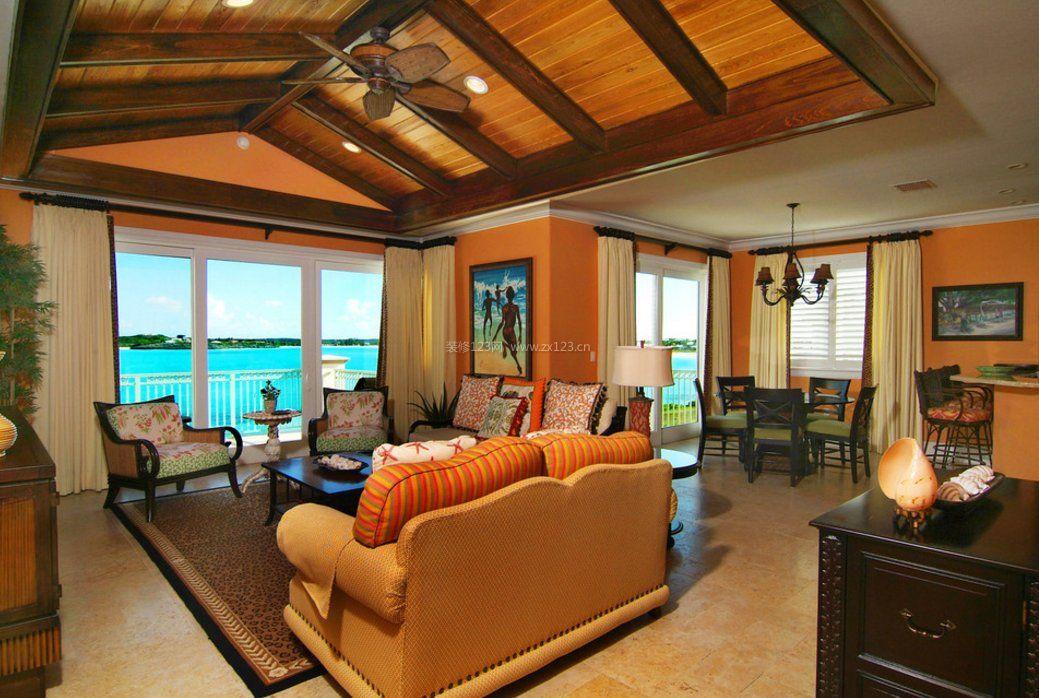 家装效果图 美式 家庭装修美式乡村客厅吊顶效果图片 提供者:   ←图片