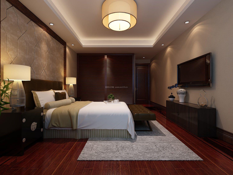 现代中式卧室床尾凳设计装修效果图片图片