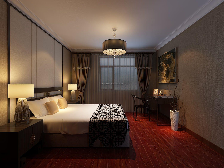 现代中式卧室红木色木地板装修效果图片