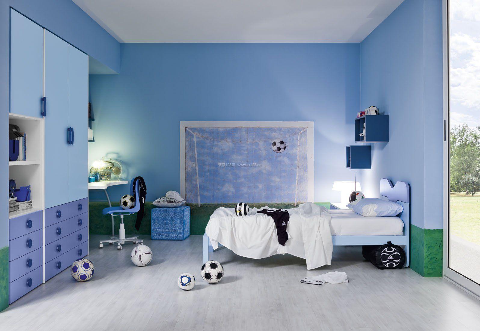 儿童卧室彩色墙面漆壁纸装修效果图