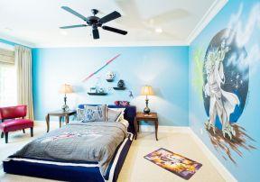 彩色墻面漆效果圖 男生臥室效果圖