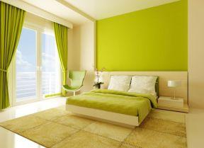 彩色墻面漆效果圖 綠色臥室效果圖