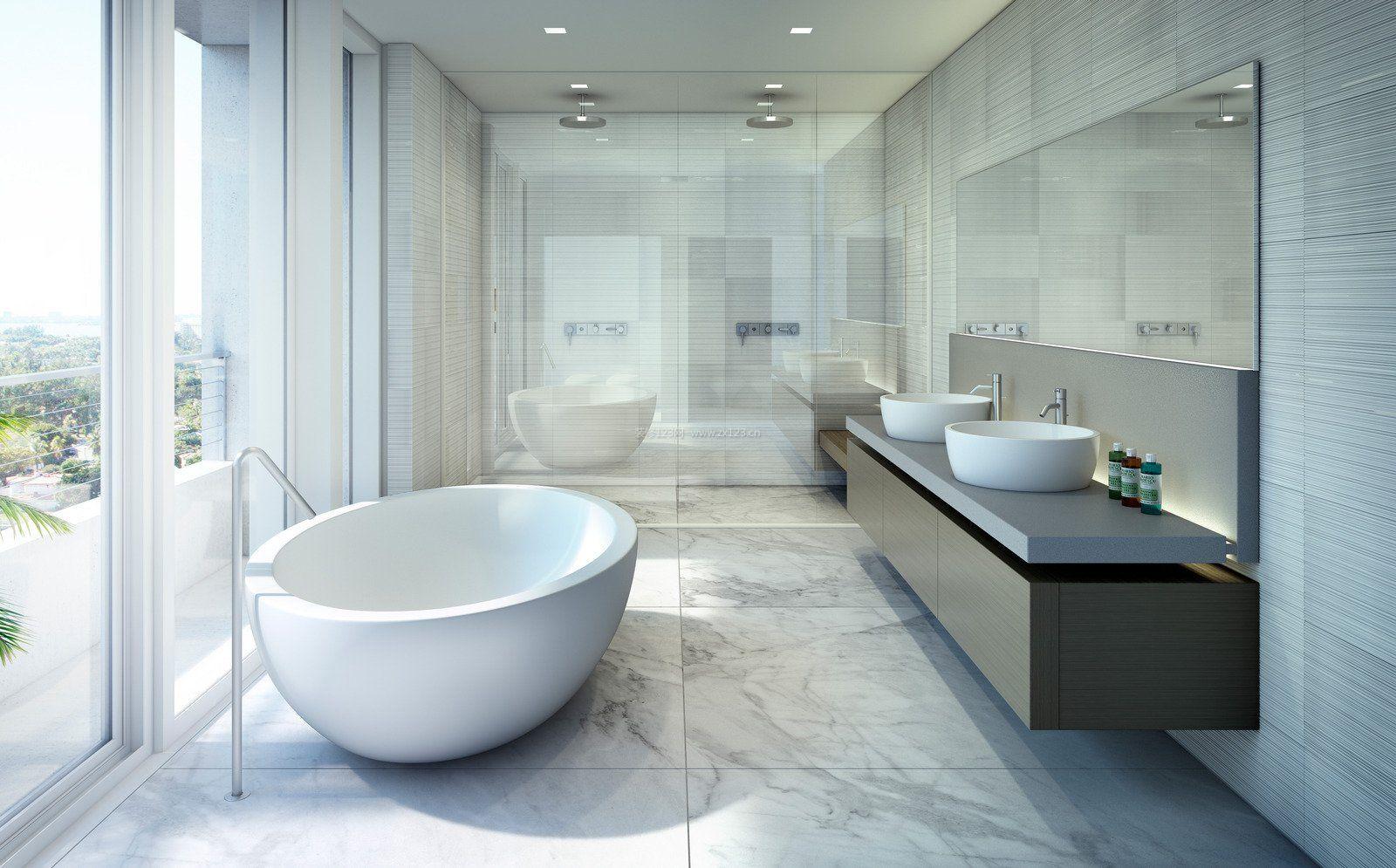 浴室白色简约风格装修效果图