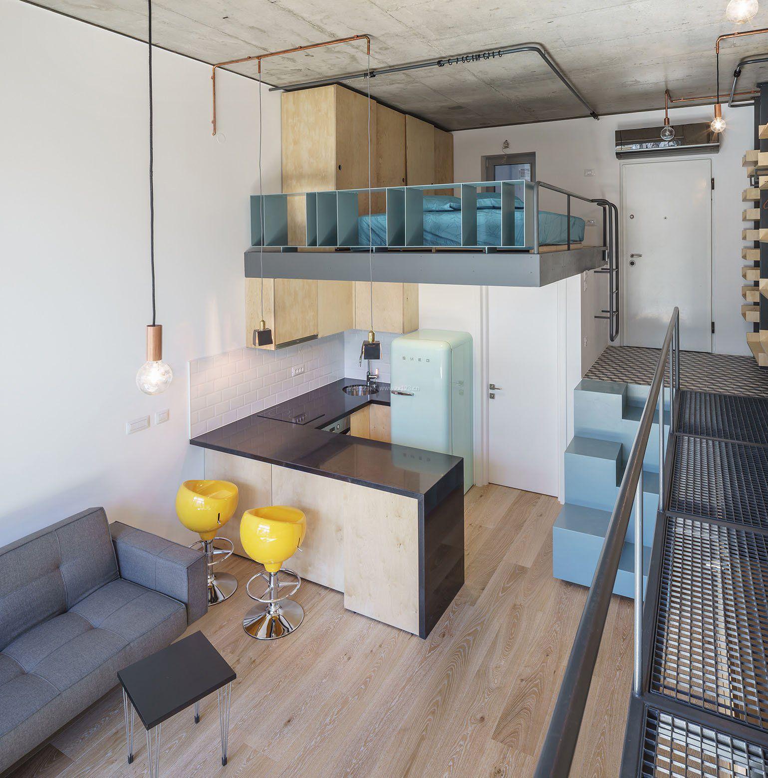 经典小复式单身公寓阁楼装修设计效果图
