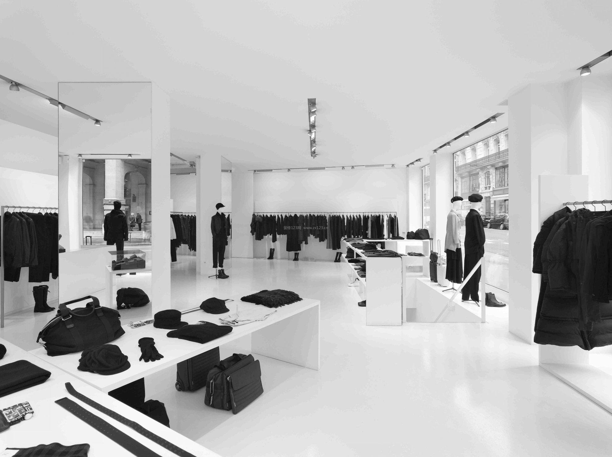 黑白现代简约服装店装修货架效果图