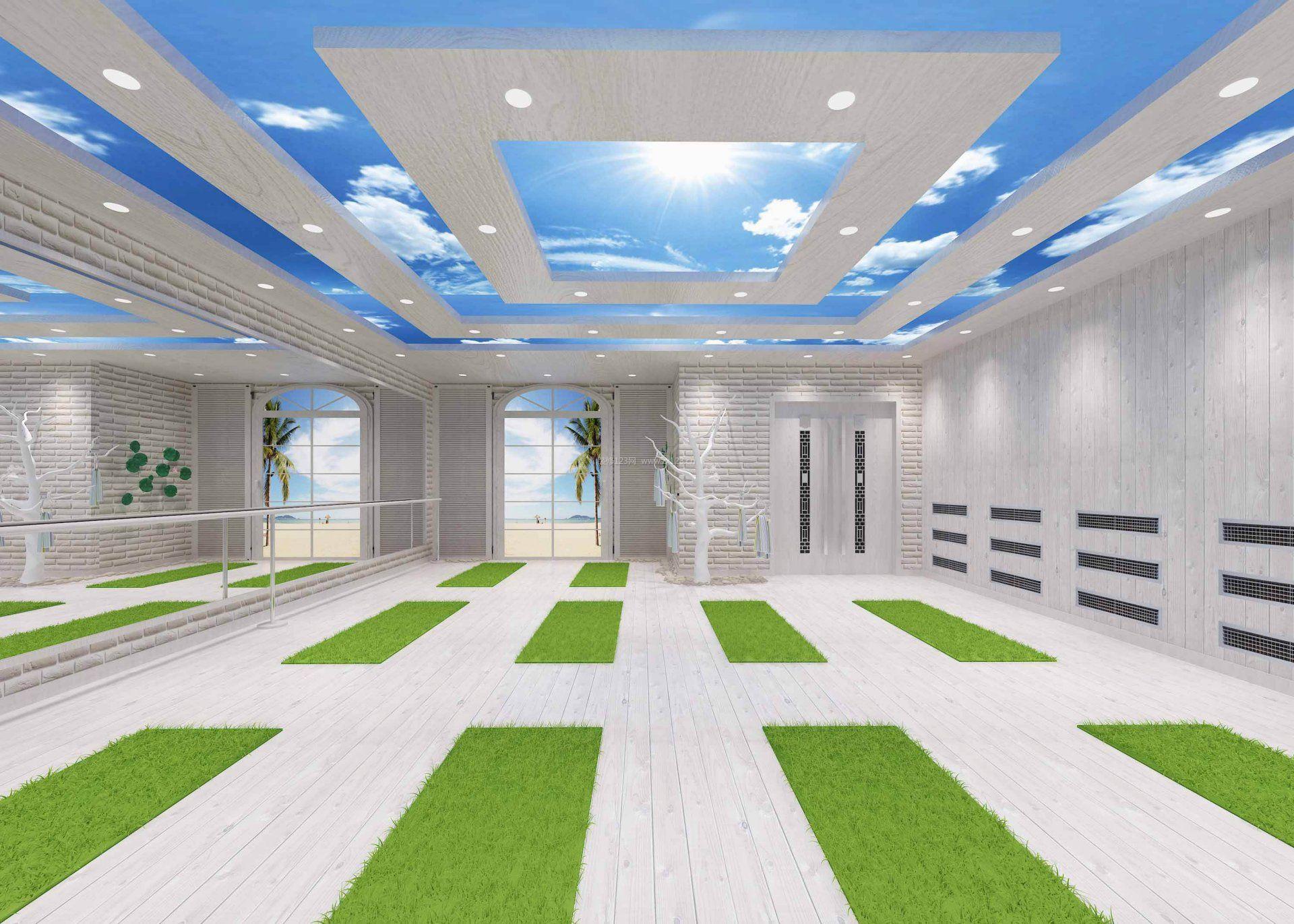 瑜伽馆室内吊顶设计装修效果图图片