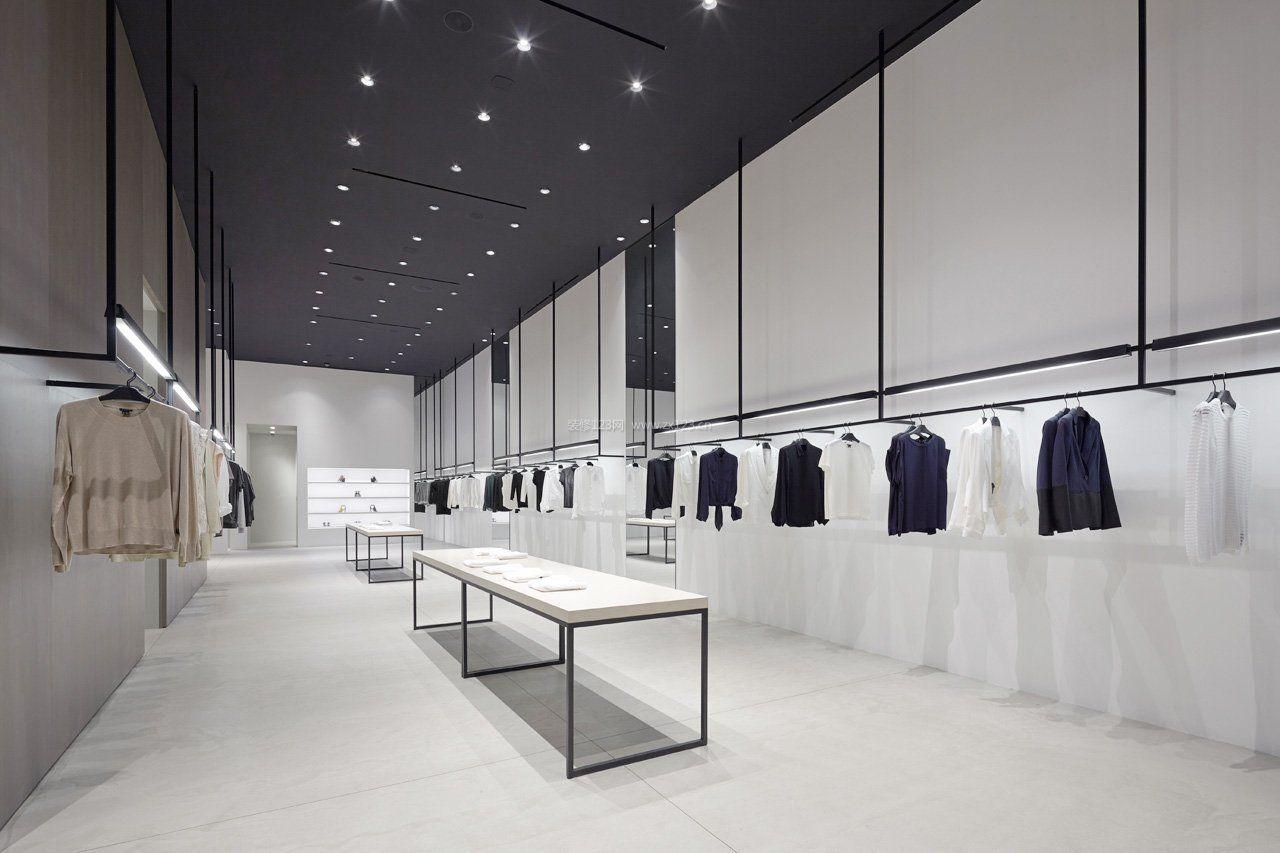 工装效果图 现代 黑白现代服装店装修货架 提供者