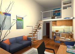 小复式楼经典单身公寓客厅装修设计效果图图片