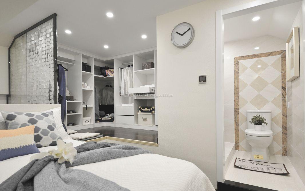 公寓式住宅主卧室带衣帽间装修效果图