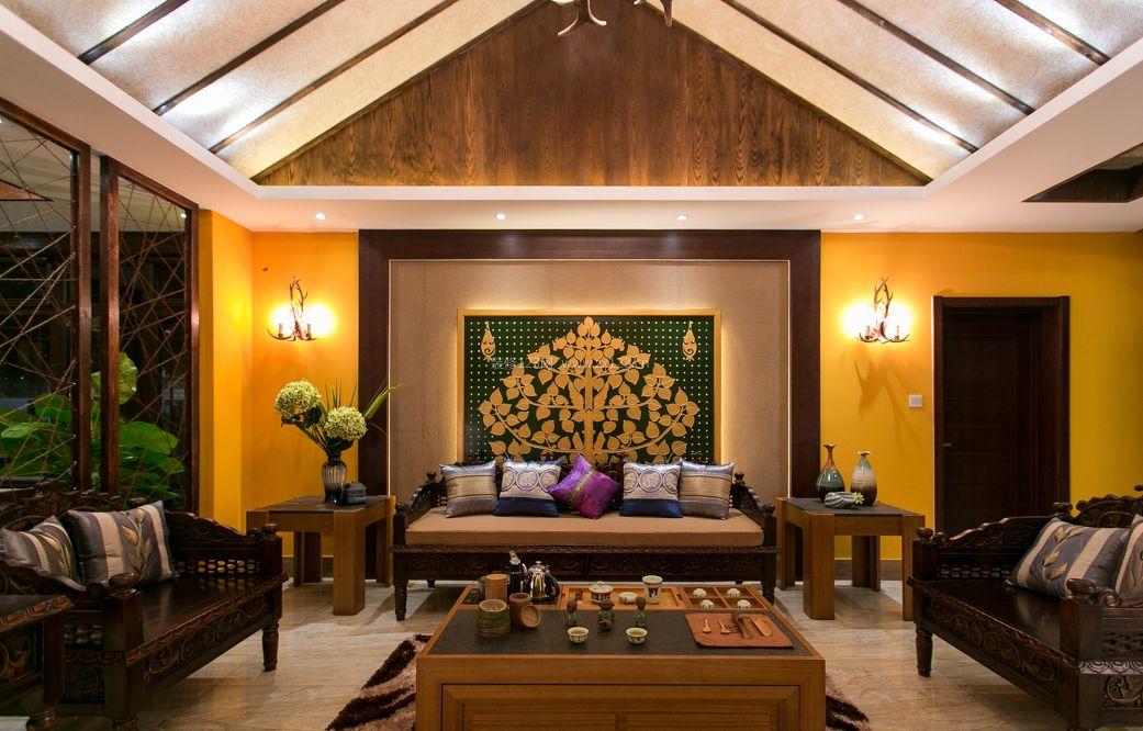 东南亚风格的客厅背景墙装修效果图