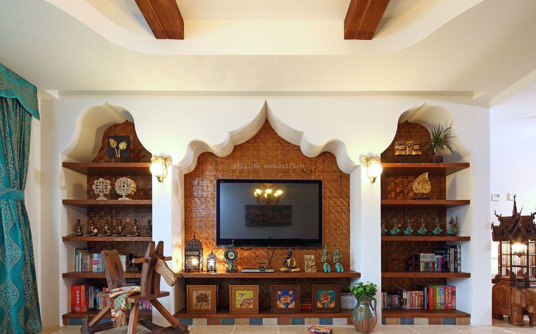 东南亚风格_东南亚风格的客厅电视墙装修图集