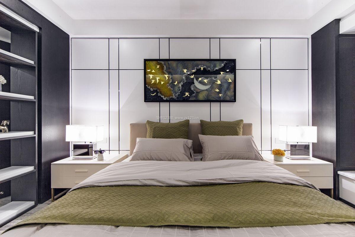 家居现代卧室床头背景墙装修效果图