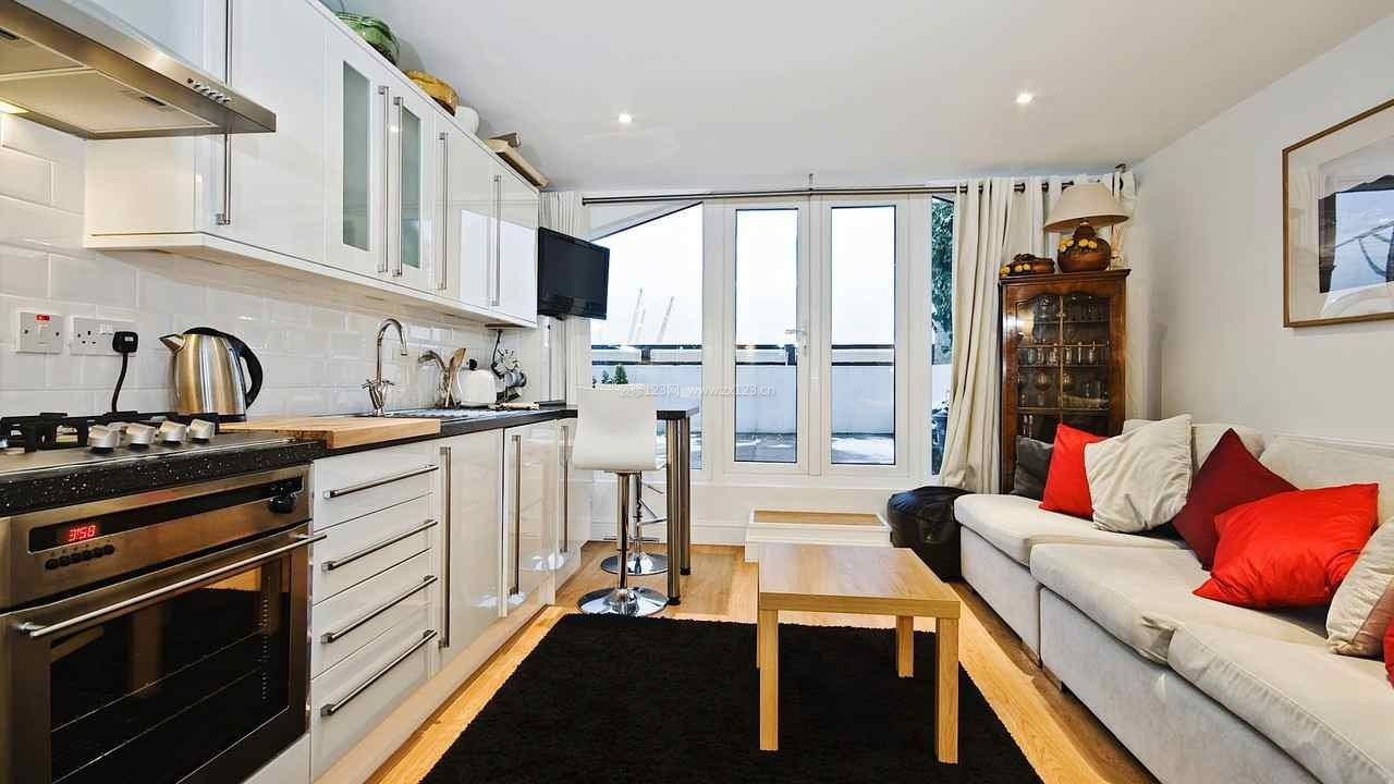 单身公寓开放式客厅厨房装修设计效果图