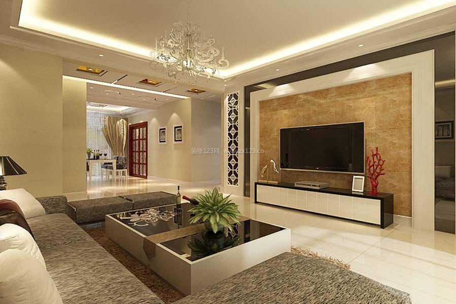150平米现代简约瓷砖电视背景墙装修效果图片
