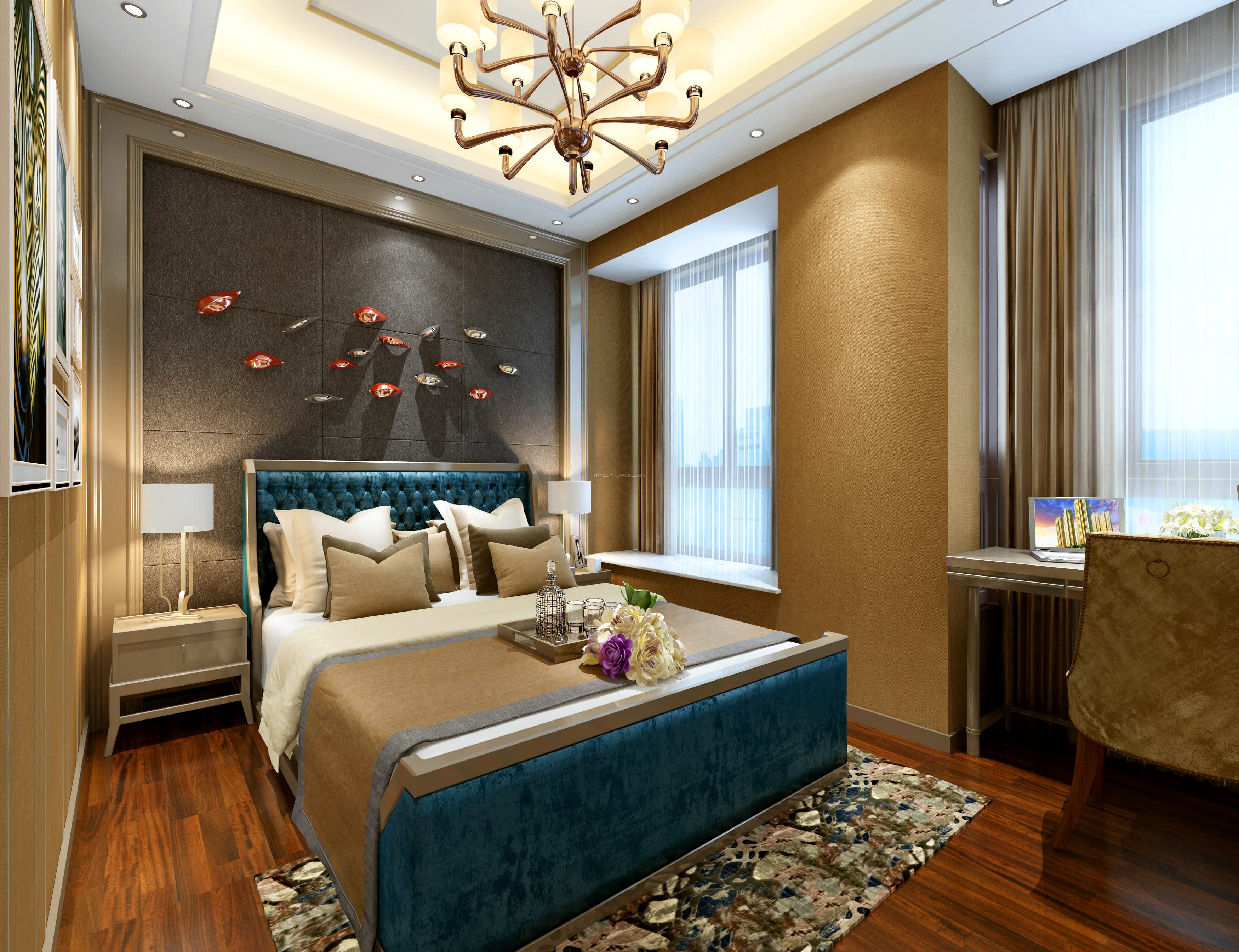 港式现代卧室床头背景墙装修效果图片图片