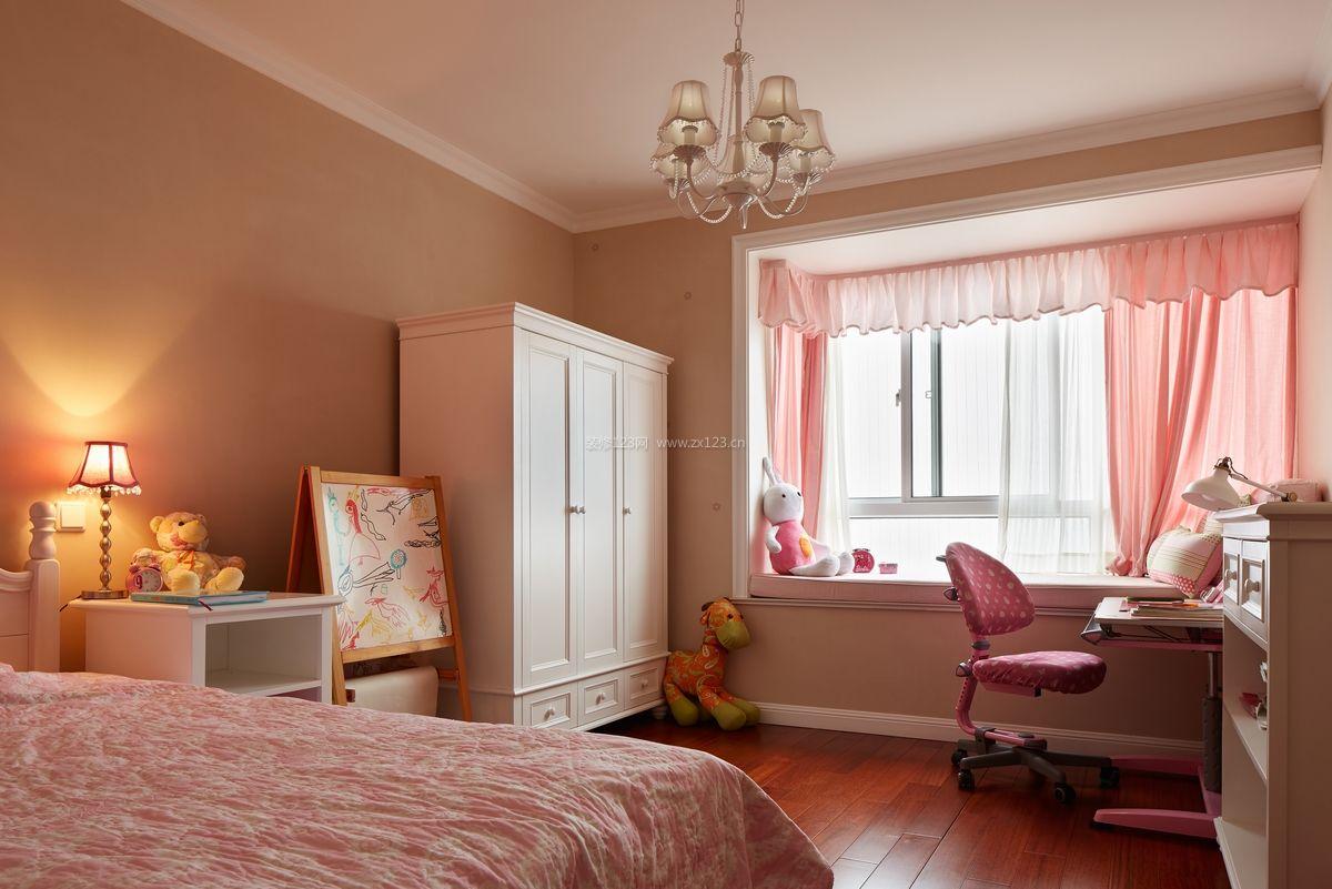 子效果�_现代风格女孩子卧室粉色窗帘装修效果图片