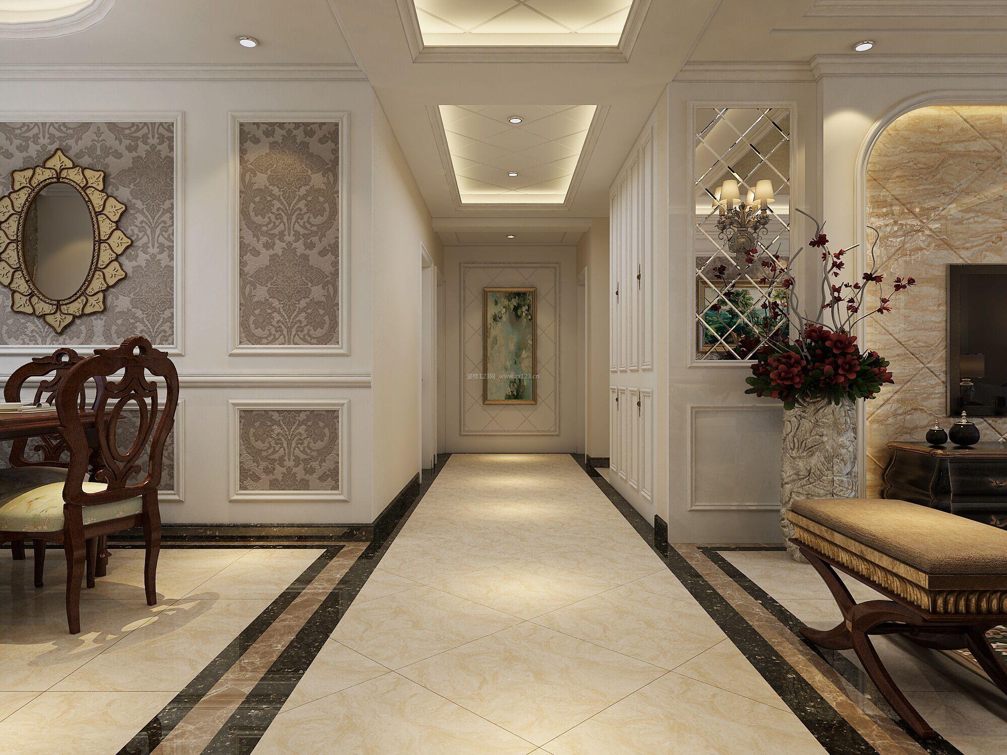 最新美式装修效果图 走廊过道吊顶效果图