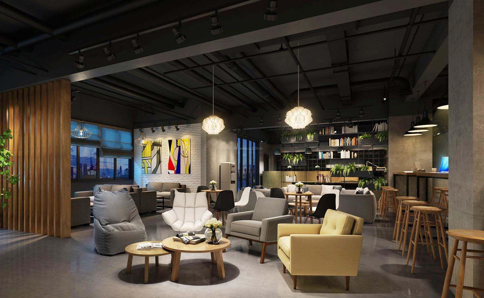 咖啡馆店面设计北欧吊顶装修效果图