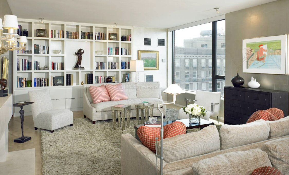 欧式客厅背景墙整体书柜效果图