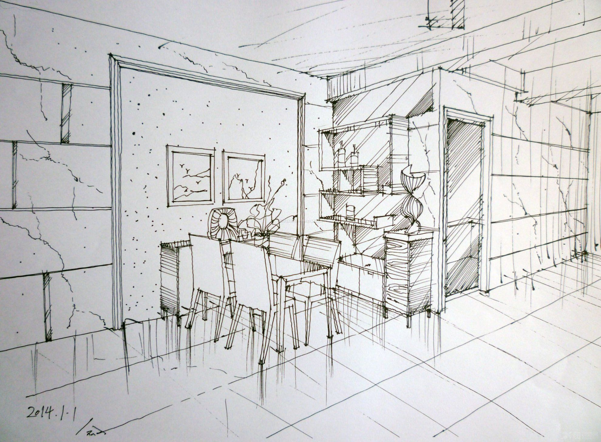 小型家装餐厅手绘效果图