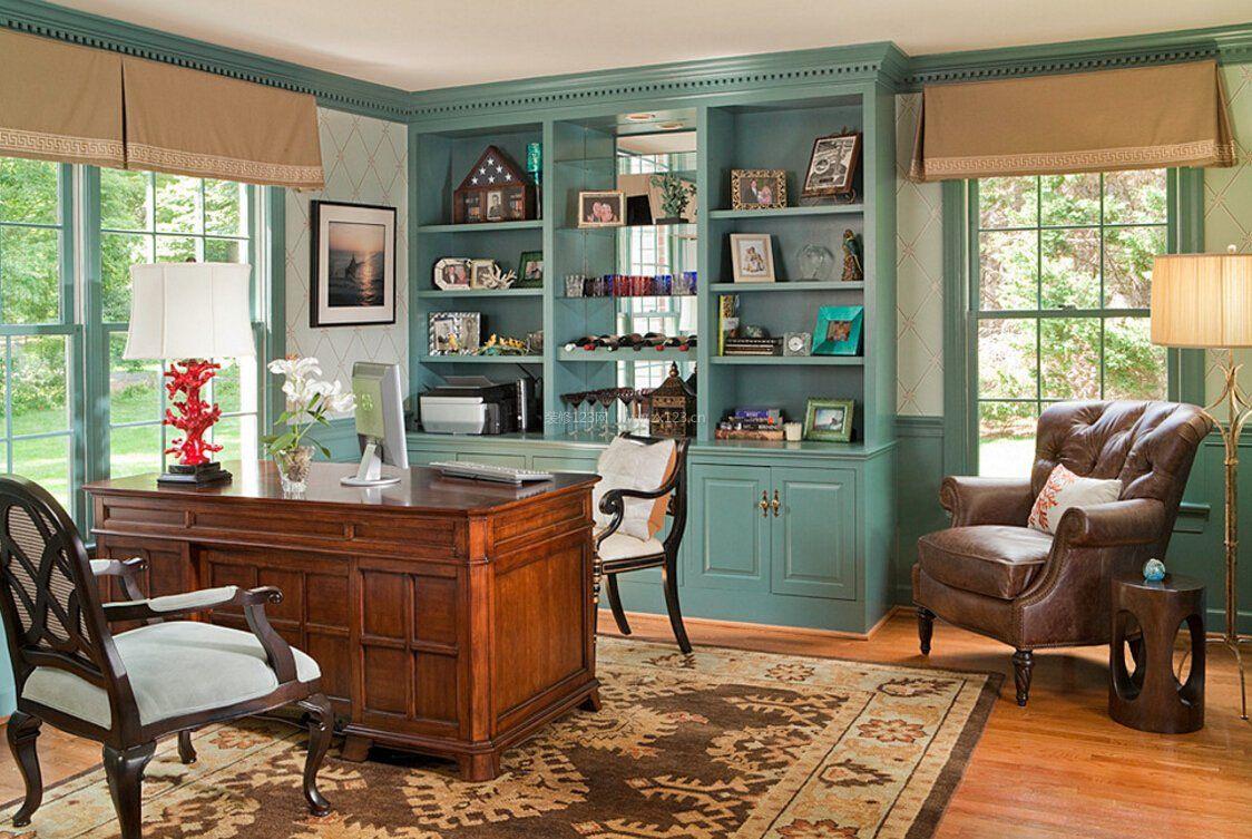 欧式田园书房整体书柜装修效果图