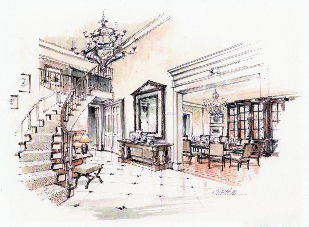 别墅家装餐厅手绘效果图图片