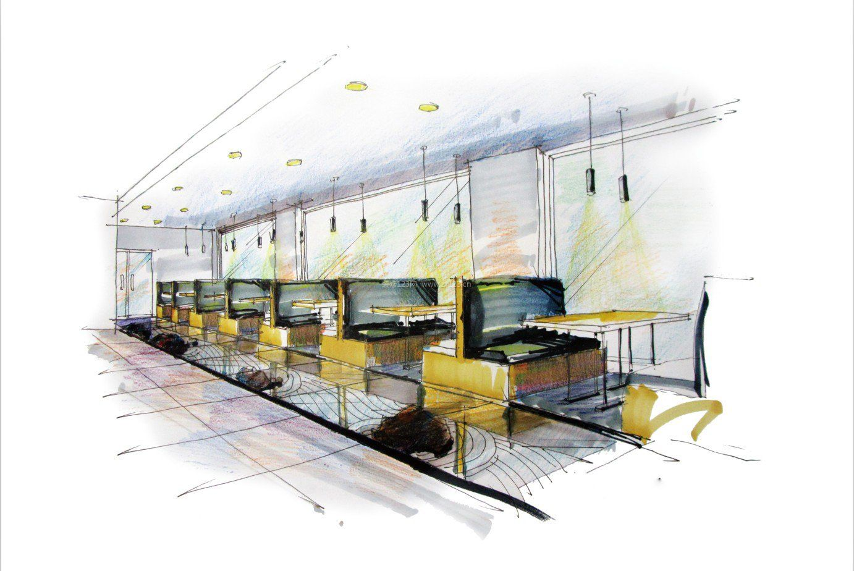 休闲小餐厅手绘效果图
