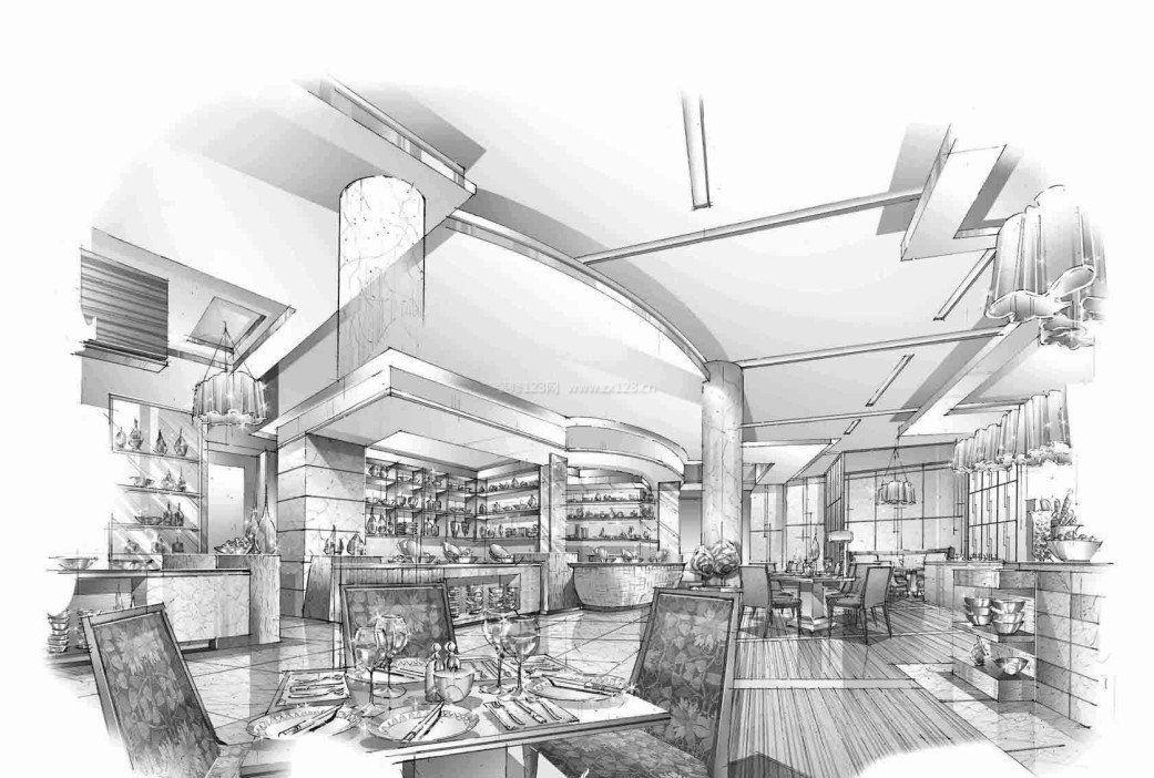 餐厅大厅手绘效果图_装修123效果图