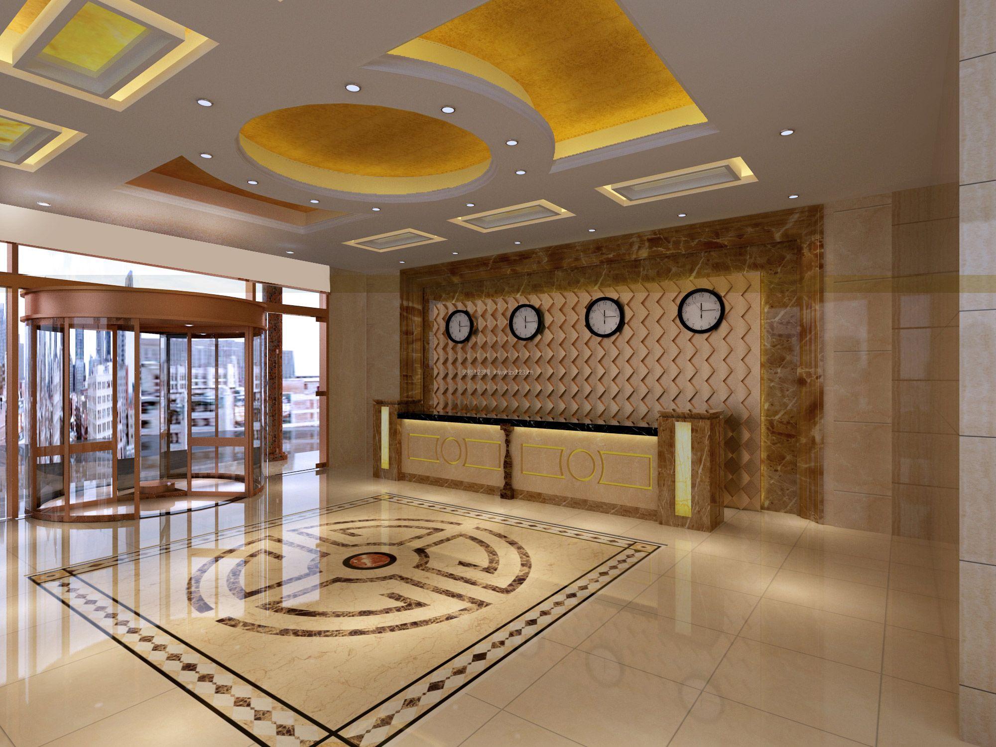 商务宾馆门脸前台背景墙装修效果图