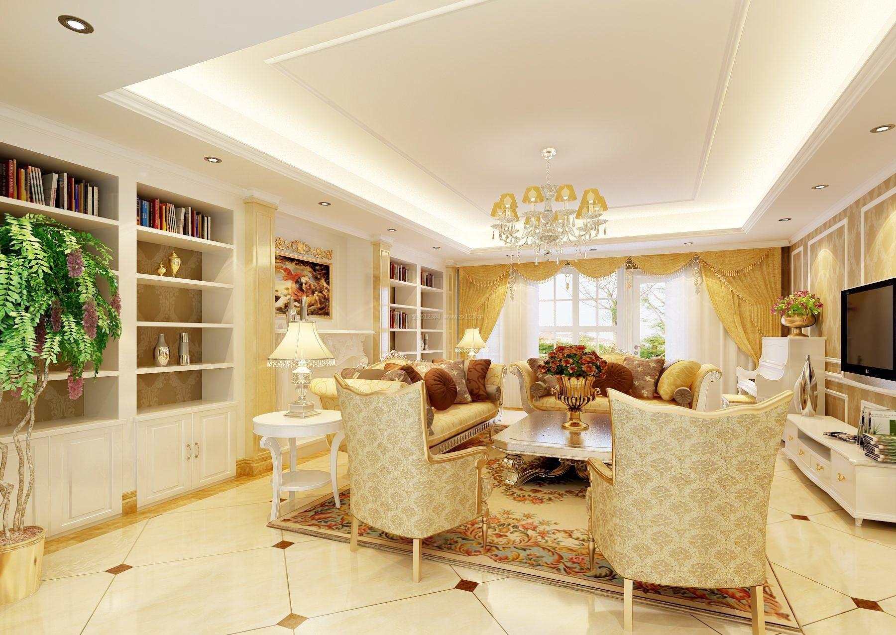 简欧风格吊顶造型装修客厅效果图图片