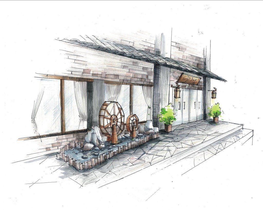 餐厅门头设计手绘效果图