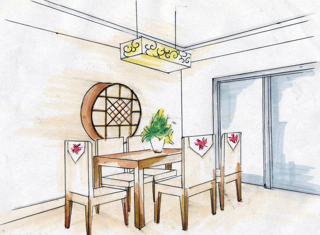 中式餐厅手绘效果图