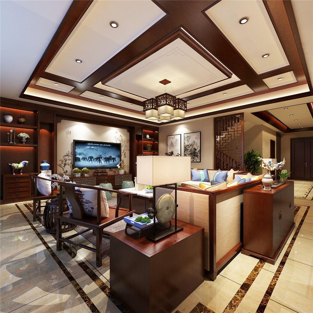 家装效果图 中式 新中式客厅吊顶造型装修效果图片大全 提供者:   ←